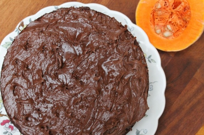 Chocolate Squash Cake with chocolate frosting on a vintage plate.