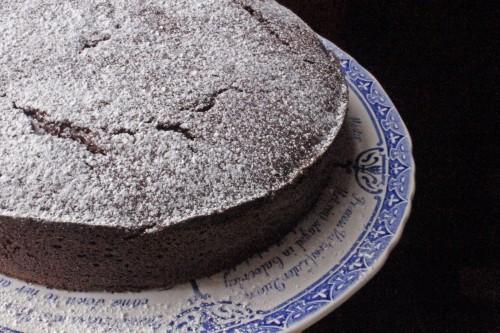 Chocolate Beetroot Cake on vintage plate