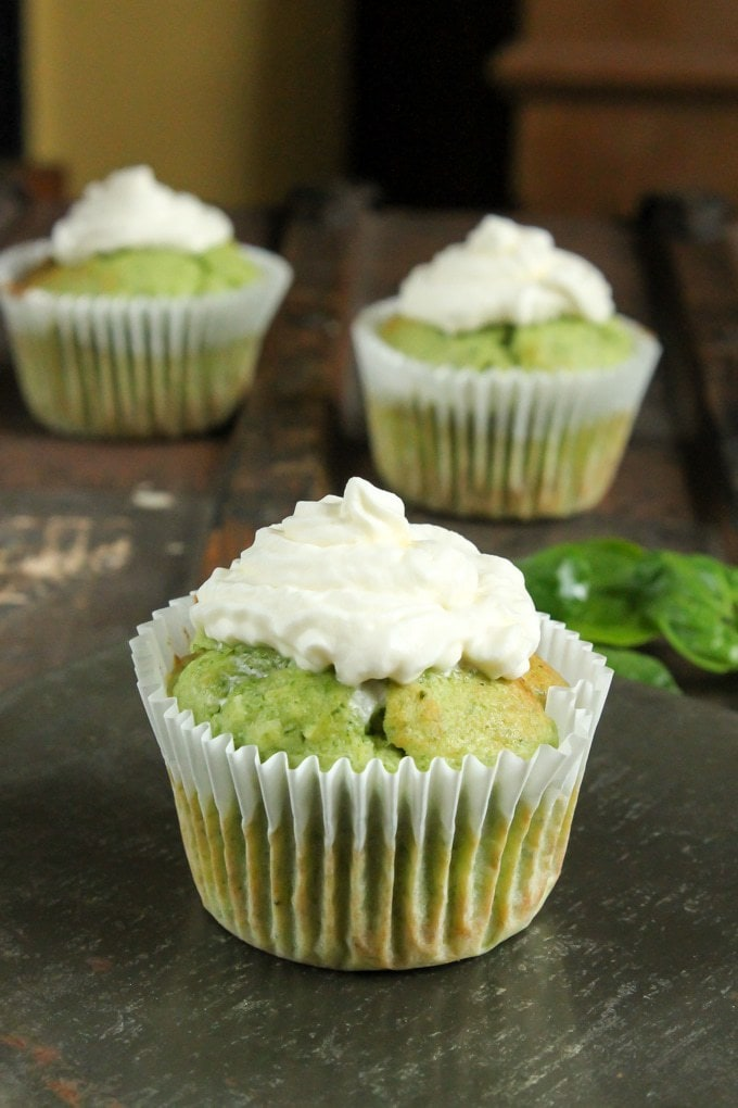 Spinach almond cupcakes on a tray