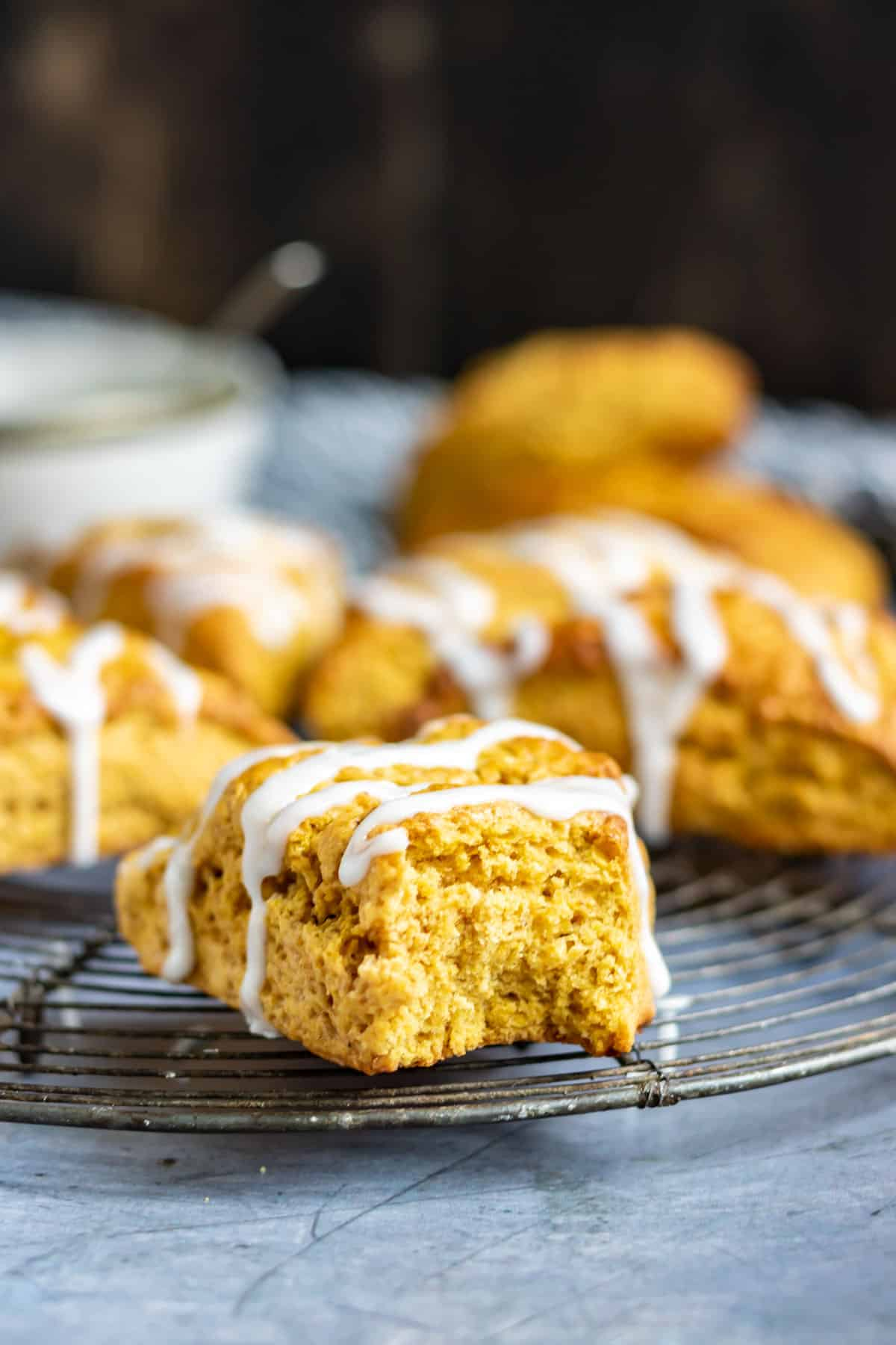 Scone with a bite out.