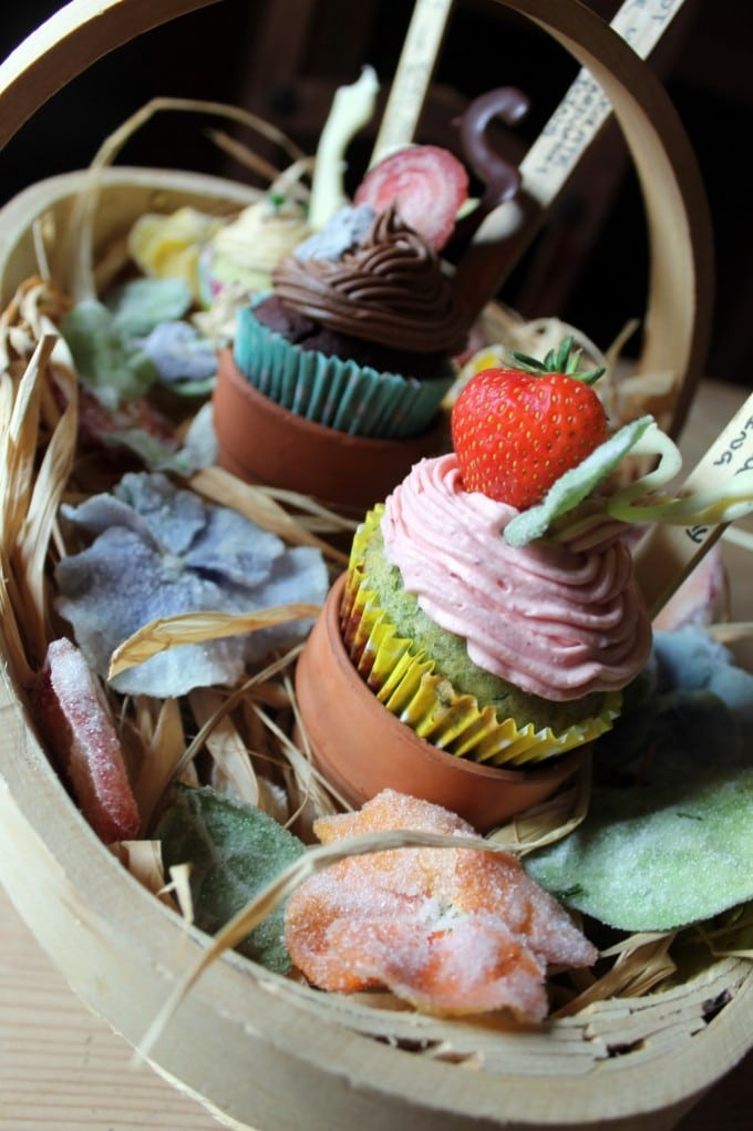 A basket of cupcakes.