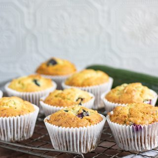 Courgette Blueberry Yogurt Muffins