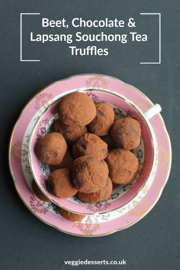 Beet chocolate and smokey lapsang souchong tea truffles recipe pinnable image