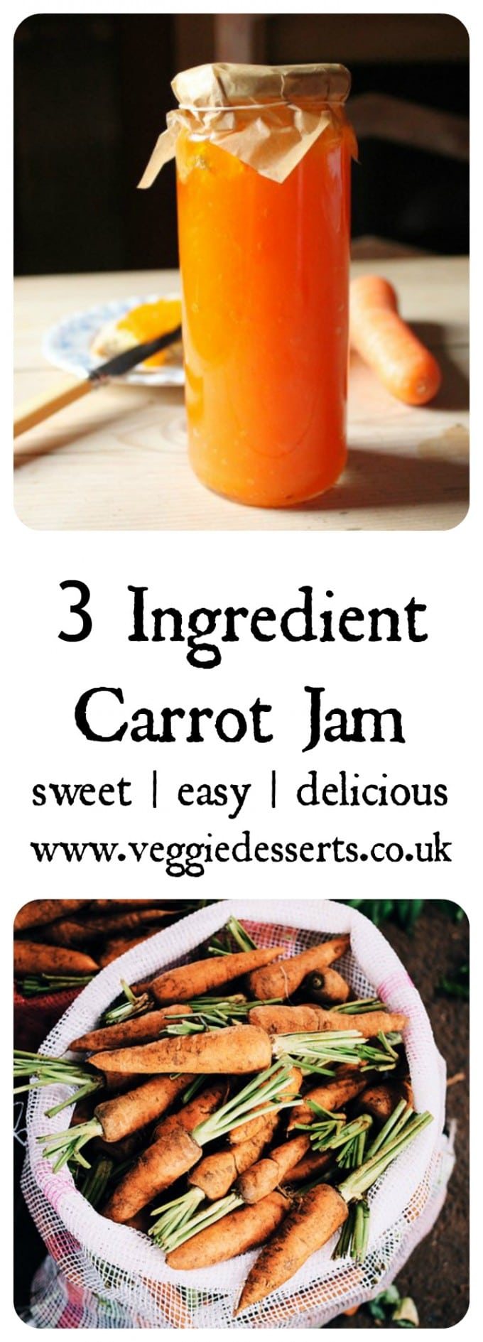 Carrot Jam - a quick and easy 3 ingredient vegetable jam. No pectin or unusual ingredients, just carrots, lemon and sugar! It tastes deliciously like apricot jam and is based on a recipe from the 1800s. Delicious on toast, pancakes, waffles and more.  #vegetablejam #jam #jamrecipe #carrotjam #carrots #carrotrecipe
