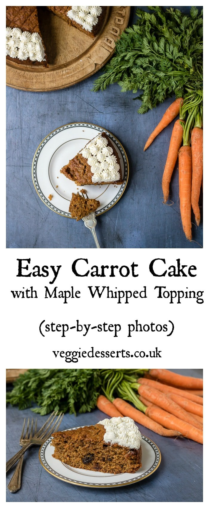 This Easy Carrot Cake is moist, delicate and filled with sweet earthy carrots. The heady scent of cinnamon and the sweet plump raisins all mingle together in a delicious classic bake. It's a slice of nostalgia and your gateway to more unusual vegetable cakes. This recipe is nut-free. #carrotcake #cake #nutfree #maple