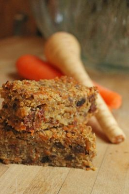 carrot parsnip and coconut flapjacks | Veggie Desserts Blog