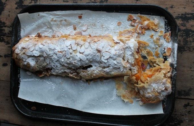 A strudel on a baking sheet.