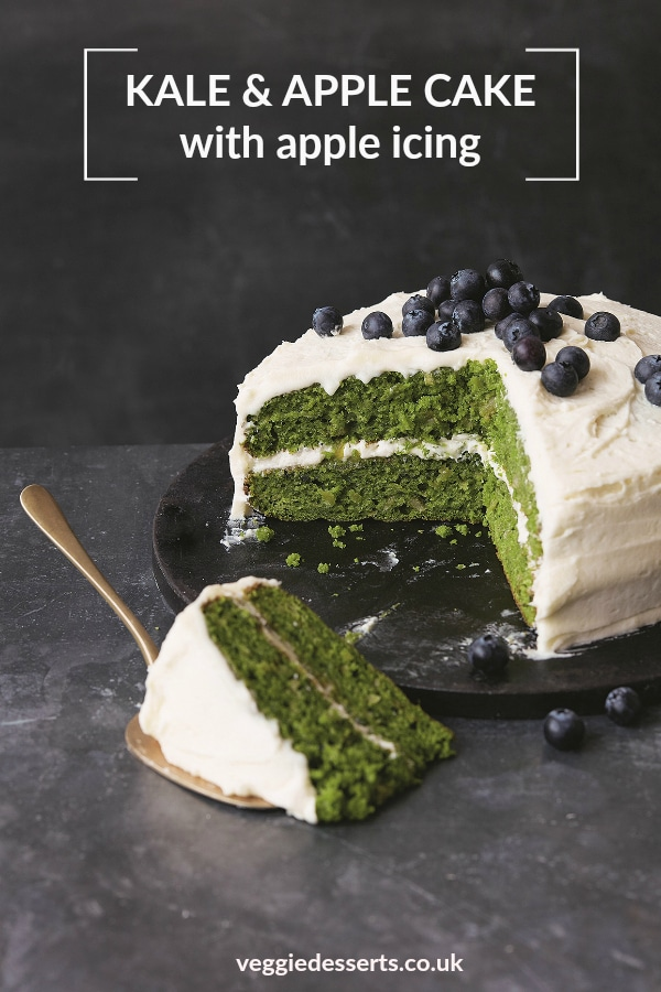This bright green Apple Kale Cake is naturally coloured with pureed kale! It has a delicate apple-flavoured sponge, topped with a zesty apple icing. Although there is quite a bit of kale, the flavour doesn't overpower the other ingredients. Hundreds of readers have made it and loved it! #kalecake #vegetabledessert #vegetablecake #kale