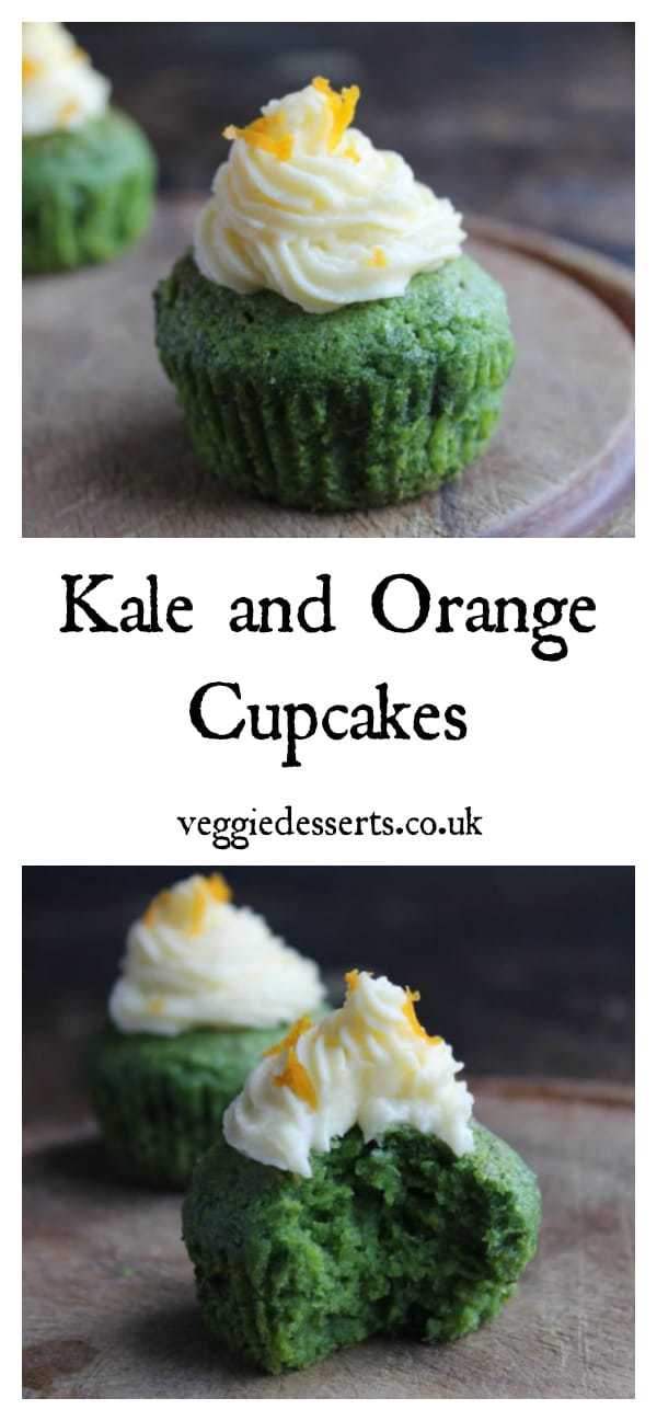 Kale and Orange Cupcakes! These kale cupcakes are like a cake version of a green smoothie. The lurid green kale and orange cake tastes of citrus and is topped with a sweet creamy orange icing. This is a decadent way to eat leafy greens, but a nutrient-packed way to eat cupcakes - in kale cupcakes! #vegetabledessert #vegetablecake #kalecake #cupackes