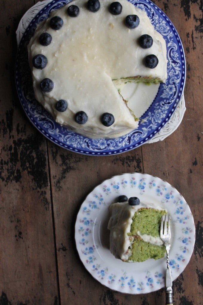Kale cake! Kale Apple Cake with Apple Icing is a light and fluffy layer cake that's naturally bright green. You can't taste the kale, but it leaves lots of green goodness behind. It tastes like an apple cake and is topped with a zingy apple icing.