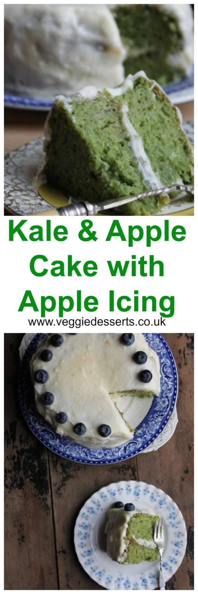 This Apple Kale Cake has a delicate apple-flavoured sponge, topped with a zesty apple icing and, although there is quite a bit of kale, the flavour doesn't overpower the other ingredients. #kalecake #vegetabledessert #vegetablecake #kale