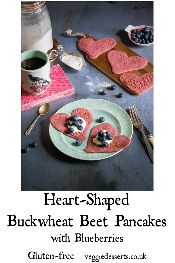 These gluten free buckwheat beet pancakes have beetroot and blueberries, giving them a wonderful pink colour and lovely subtle flavour. They're absolutely tasty and a perfect Valentine's breakfast #valentinesday #valentinesrecipe #glutenfree #glutenfreepancakes #beetpancakes #heartpancakes #heartshaped