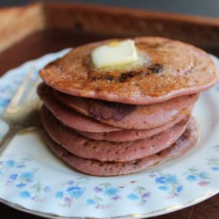 Beet Blueberry Buckwheat Pancakes