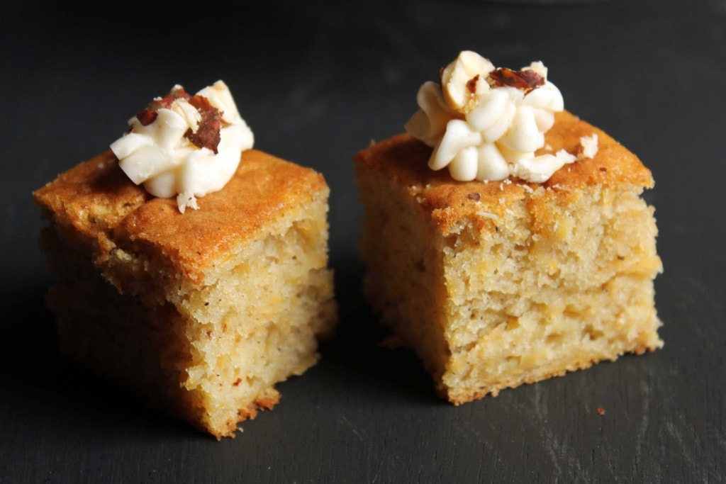 Two squares of swede cake.