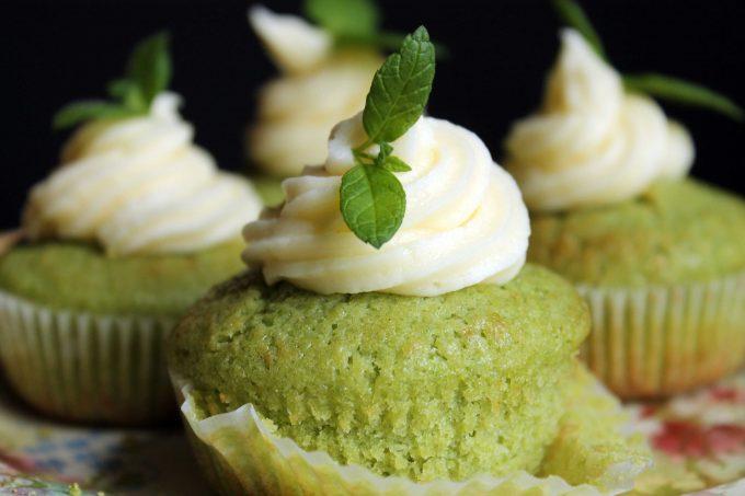 Close up of a cupcake.