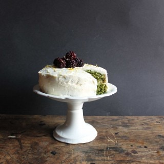 Nettle and Lemon Cake with Lemon Icing and Blackberries