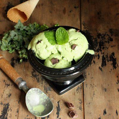 Kale Mint Chocolate Chunk Frozen Yogurt   Veggie Desserts