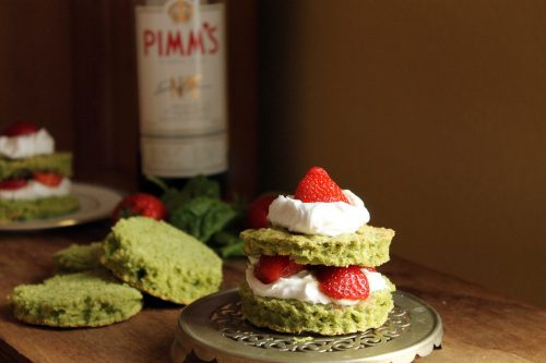 Pimms Infused Strawberry and Spinach Shortcakes with Coconut Cream   Veggie Desserts