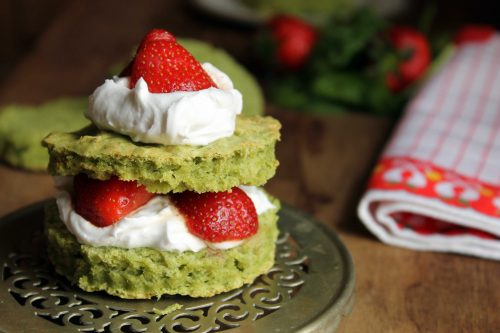 Pimms Infused Strawberry and Spinach Shortcakes with Coconut Cream | Veggie Desserts