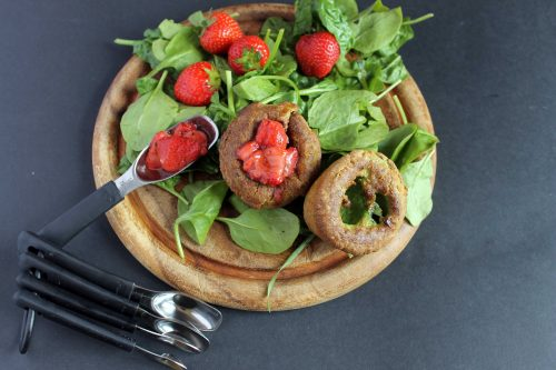 Sweet Spinach Yorkshire Puddings (Popovers) with Roasted Black Pepper Strawberries and Sweetened Yogurt   Veggie Desserts