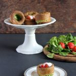Sweet Spinach Yorkshire Puddings/Popovers with Roasted Black Pepper Strawberries and Sweetened Yoghurt