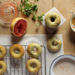 Watercress and Grapefruit Baked Doughnuts with Citrus Glaze and Grapefruit Pearls