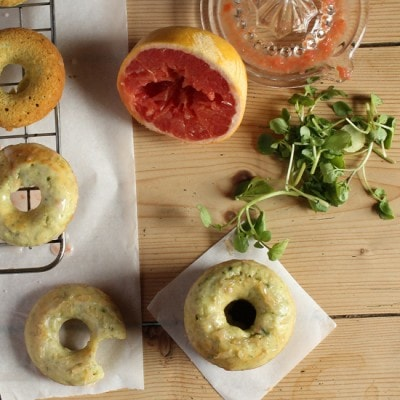 Watercress and Grapefruit Baked Doughnuts with Citrus Glaze and Grapefruit Pearls | Veggie Desserts