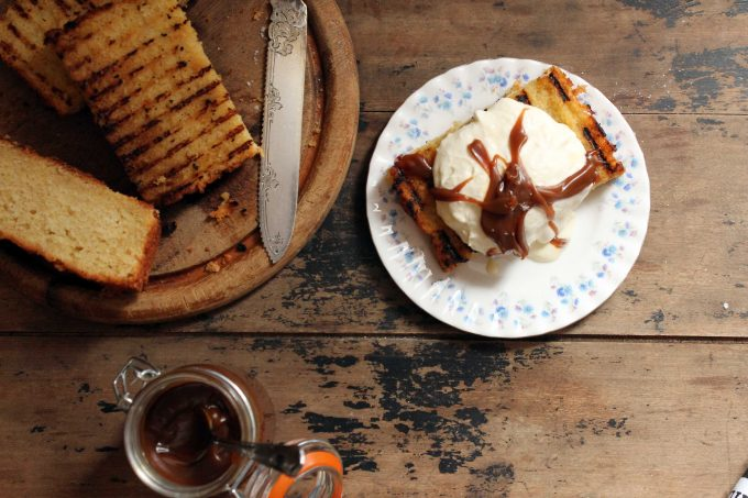 Celeriac and Apple Grilled Cake with Apple Ice Cream and Salted Bourbon Butterscotch Sauce | Veggie Desserts