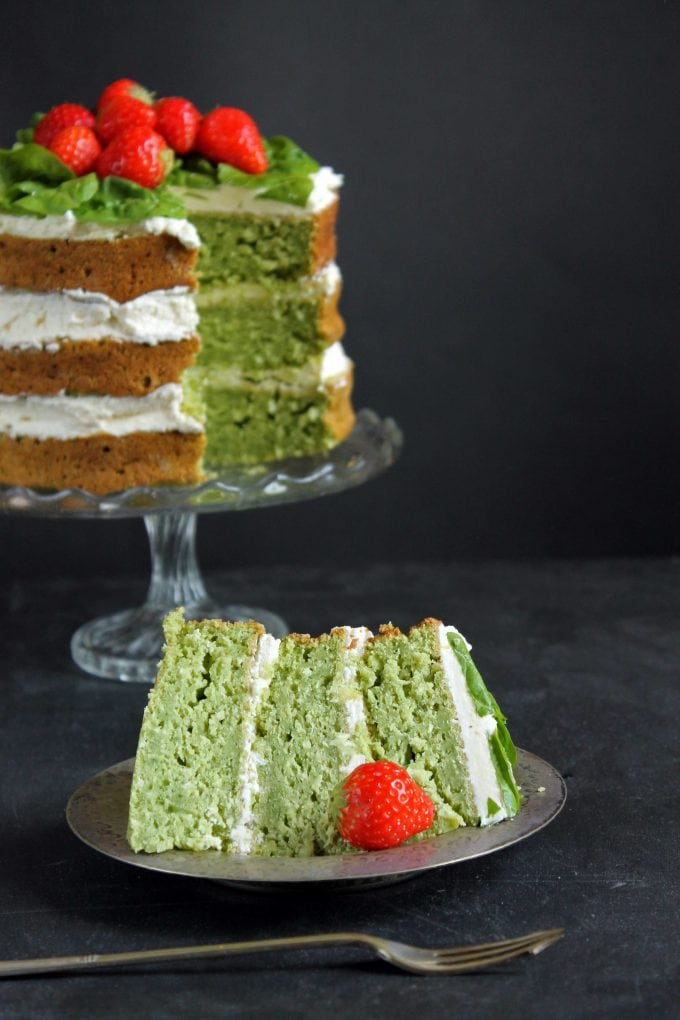 Coconut Yogurt Spinach Cake with a slice cut out and set in front