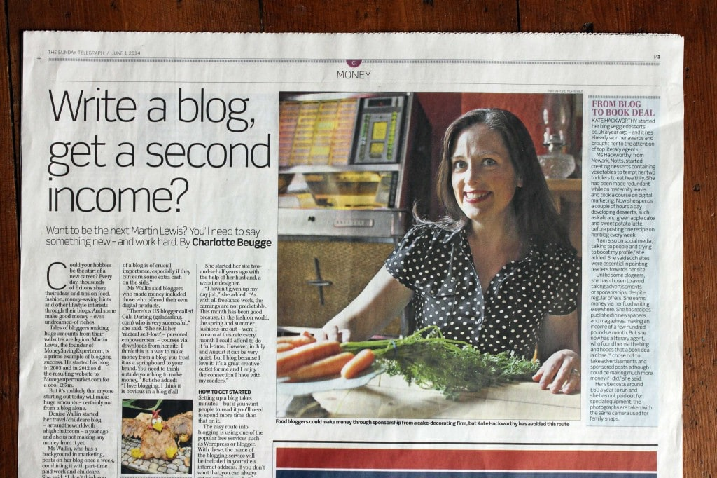 Kate Hackworthy Veggie Desserts in the Sunday Telegraph