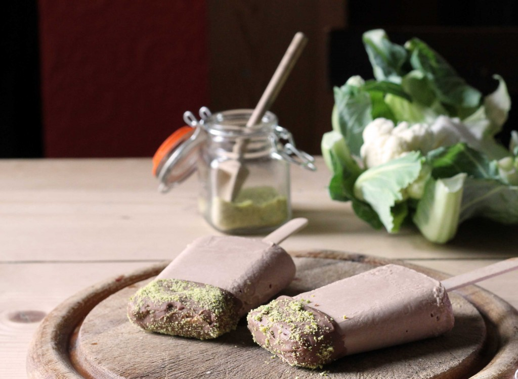 Cauliflower and Chocolate Ice Lollies with Pistachio Dust   Veggie Desserts