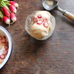 Vegan Cinnamon Ice Cream with Maple Roasted Radishes