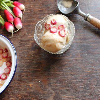 Vegan Cinnamon Ice Cream with Maple Roasted Radishes | Veggie Desserts