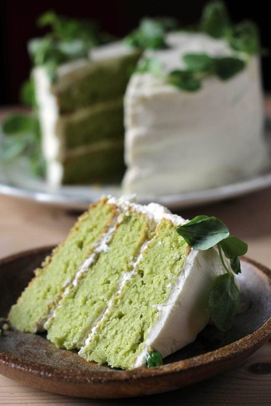 A slice of cake close up.