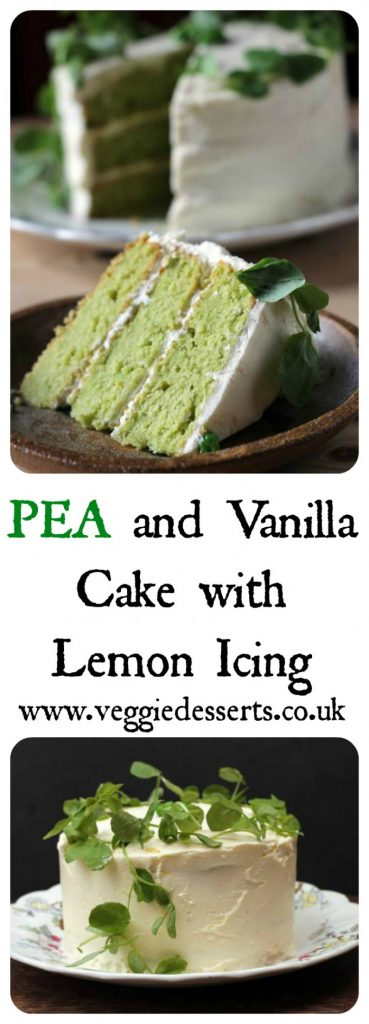 Vanilla Pea Cake with Lemon Icing | Vegetable Cakes | Veggie Desserts Blog