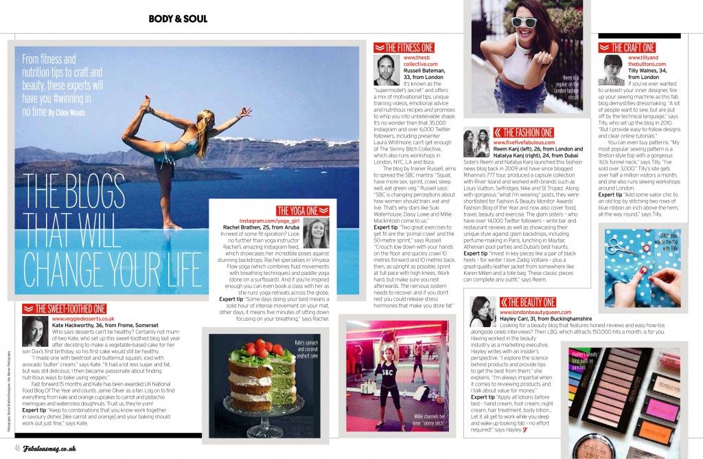 Veggie Desserts in Fabulous Magazine - The Sun on Sunday Aug 2014