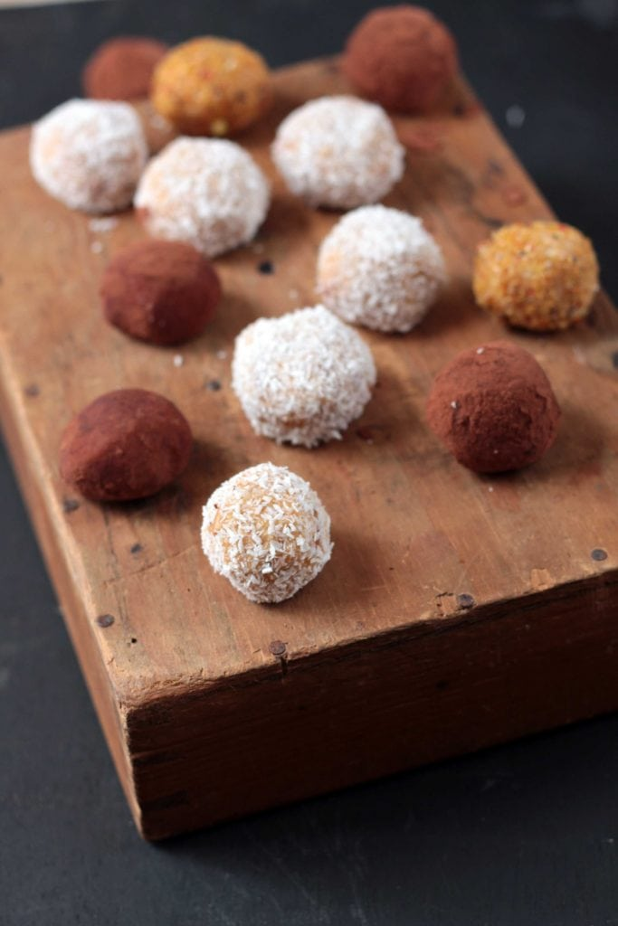 Sweet Potato and Fresh Ginger Protein Balls - rolled in coconut, cocoa powder or ground flax. A healthy and easy snack or breakfast.