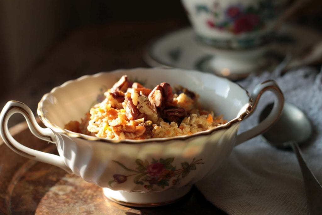 Easy Vegan Carrot Cake Oatmeal with Pecans - quick and easy to make.