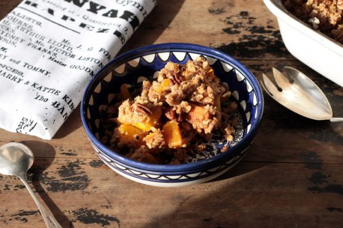 Pumpkin Spice Crisp (Crumble) with Gingerbread Pecan Topping | Veggie Desserts