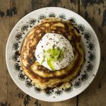 Zucchini (Courgette) and Dark Chocolate Chunk Pancakes with Maple Yogurt