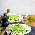 Spiralized Courgette (Courgetti) with Pea Mint Sauce