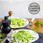 Pinnable image for zoodles with pea sauce recipe