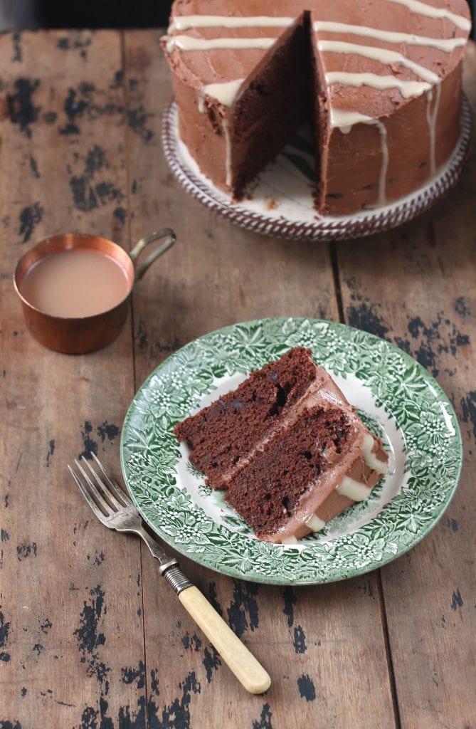 A slice of chocolate cake on a plate.