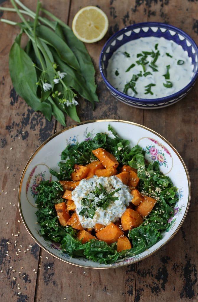 Wild garlic salad: Sweet Potato and Kale Salad with Wild Garlic (Ransoms) and Yogurt Dressing and Sesame Seeds | Veggie Desserts blog