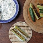 Marinated Grilled Cucumbers with Garlic and Dill Dip