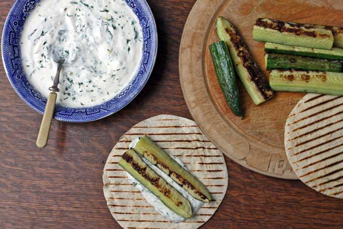 BBQ'd Cucumbers with minty yogurt dip | Unusual ways to eat cucumbers! From cakes and cupcakes to cocktails and on the barbecue - loads of crazy ways with cucumbers! |