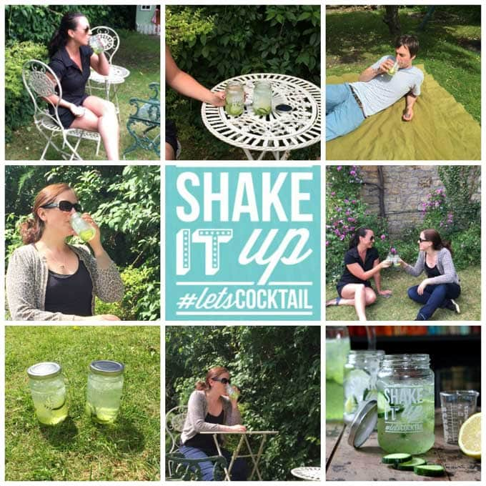 a collage of images of people drinking cucumber gin and tonics outside