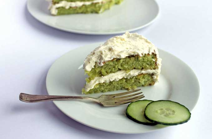Cucumber and Lemon Cake with Elderflower Icing | Unusual ways to eat cucumbers! From cakes and cupcakes to cocktails and on the barbecue - loads of crazy ways with cucumbers! |
