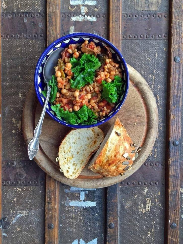 Farro, Chickpea, Mushroom and Kale Stew
