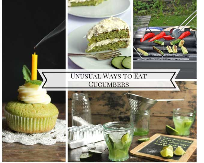 Unusual ways to eat cucumbers! From cakes and cupcakes to cocktails and on the barbecue - loads of crazy ways with cucumbers! | Veggie Desserts Blog